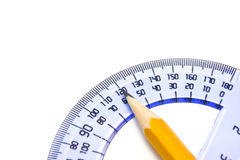 Protractor and pencil. On white background stock photography