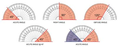 Protractor - protractor actual size graduation isolated on background vector. Illustration Royalty Free Stock Images