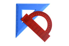 Protractor. Red and blue square on a white background Royalty Free Stock Photo