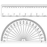 Protractor+ruler stock illustration