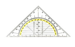 Protractor / ruler. 180 degrees protractor isolated on a white background stock photos