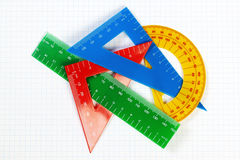 Protractor ruler and items for school and education. Royalty Free Stock Photo
