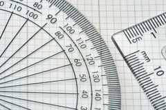 Protractor with triangle Stock Photos