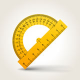 Protractor. Yellow school protractor  on white, vector illustration Stock Image