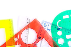 Protractors straightedges and rulers Stock Image