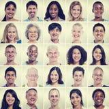 Protrait av begreppet för lycka för gemenskap för gruppmångfaldfolk arkivbild