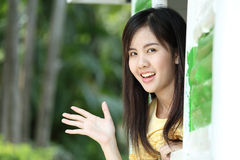 Protrait yong girl in the outside Royalty Free Stock Images
