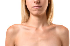 Protruding collar bones of an anorexic young woman Royalty Free Stock Photos
