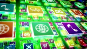 Protruding Mobile Application Icons Stock Image
