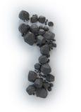 Protuberâncias de carvão que dão forma a uma pegada - Imagens de Stock Royalty Free