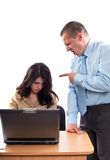 Protuberancia que discute con un empleado Foto de archivo libre de regalías