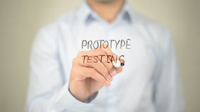 Protype Testing , Man writing on transparent screen Royalty Free Stock Image