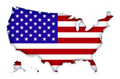 Proud America. USA map with USA flag texture, isolated on white royalty free illustration