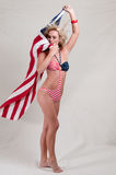 Proud American Flag Girl Stock Image