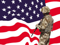 Proud American soldier vector Stock Photos