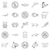Proud animal icons set, outline style. Proud animal icons set. Outline set of 25 proud animal vector icons for web isolated on white background Stock Image