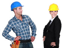 Proud architect and builder Stock Images