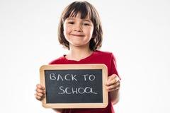Proud beautiful preschool girl enjoying about fun back to school Stock Images