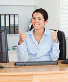 Proud beautiful woman with thumbs up Royalty Free Stock Photo