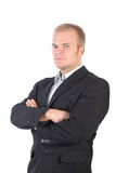Proud boss. A young proud boss with isolated background Royalty Free Stock Photos
