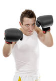 Proud boxer with boxing gloves after fight Stock Images