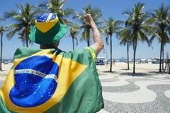 Proud Brazilian Wearing Flag Copacabana Rio de Janeiro Stock Photo