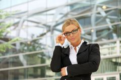 Proud business woman in glasses Stock Images