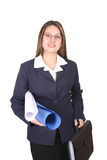 Proud Business Women. Business women holding a briefcase and some papers Royalty Free Stock Image