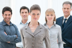 Proud businesswoman in group Royalty Free Stock Photography