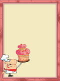 Proud cake chef in the corner. Of a stationery background or blank menu stock illustration
