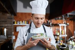 Proud Chef Presenting Dish. Portrait of proud professional chef presenting salad standing in restaurant kitchen, copy space stock photography