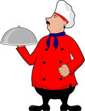 Proud chef with tray Royalty Free Stock Photography