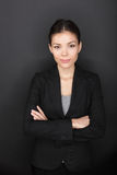 Proud confident successful businesswoman portrait. Young business woman professional on black background with arms crossed looking at camera with confidence Stock Images