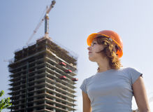 Proud constructor in a helmet stock photography