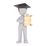 Proud 3d man showing off his diploma at graduation Royalty Free Stock Image