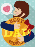 Proud Dad Hugging his Lovely Special Gift in Father`s Day, Vector Illustration. Poster in flat style with young bearded dad embracing a special lovely gift to vector illustration