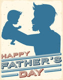 Proud Dad Rising his Newborn Baby in Father's Day Postcard, Vector Illustration Stock Images