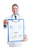 Proud doctor showing medical charts Royalty Free Stock Photos
