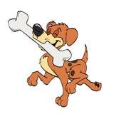 Proud Dog With Bone. Hand drawn cartoon happy dog carrying a big bone Royalty Free Stock Photo