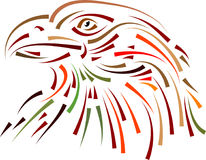 A proud eagle. Head abstract brush stroke line art black and white design stock illustration