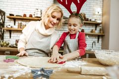 Proud entertained mother in striped apron controlling her daughter stock photography
