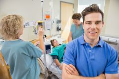 Proud Expecting Father in Hospital Stock Image