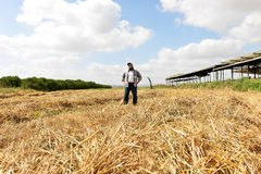 Proud farmer standing in the middle of his field. Proud farmer standing in his farm. He is proud of his trees, field and cow shed royalty free stock photography