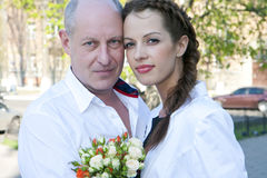 Proud father and bride Stock Photography