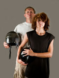 Proud father of teenage son - bikers Royalty Free Stock Image