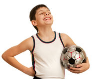 Proud for the first football victory teen Royalty Free Stock Photography