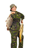 Proud fisherwoman with big carps Stock Image