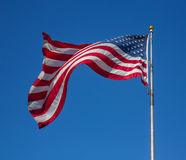 Proud flag  of United States of America waving on the wind Royalty Free Stock Photos