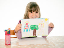 Free Proud Girl Shows His Picture Stock Photography - 47059002