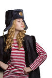 Proud girl in a soldier's cap Royalty Free Stock Photo